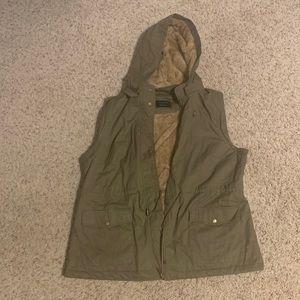 Green faux fur lined vest